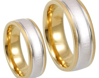 14k two tone wedding band satin finish wedding ring comfort fit promise ring - Two Tone Wedding Rings