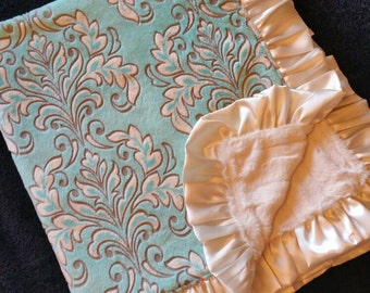 Aqua Blue and Ivory Damask Minky with Ivory Faux Fur Baby Blanket and Optional Personalization