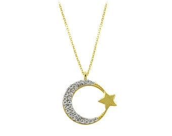 14K Solid Gold Star Month Charm Necklace