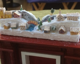 1:12 scale Alpine Christmas village display TO ORDER