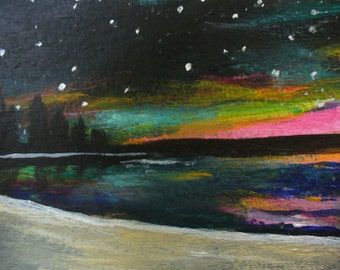 Original ACEO Painting Spring Dusk on the Beach by Canadian artist Fay Fecteau