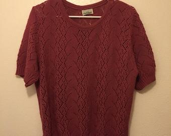 Vintage Pink Short Sleeve Sweater