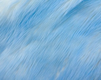 Shaggy Two Tone Baby Blue Faux Fur Fabric - Sold By The Yard