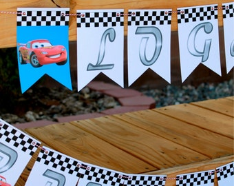 Talking Cars Birthday Party Pennant Banner - FULLY ASSEMBLED