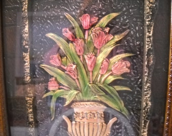 Framed Picture of a Vase of Flowers