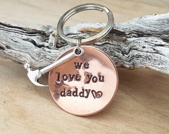 Personalized Custom Hand stamped Engraved Keychain Dad Father Grandfather Brother Fathers day Hammer We love you Daddy Handyman Copper 30