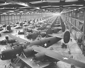 B-24 Liberator Bomber Assembly Line during WWII Photo Print