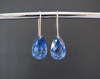 Deep London Blue Topaz Gold Earrings