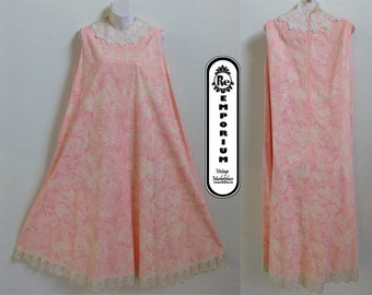 Vintage Maxi Dress Sleeveless Swing Dress with Pink and White Butterfly Print and Lace Trim No. 29