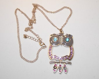 "Gorgeous Vintage Multi-colored Rhinestone owl and Enamel pendant and 22"" chain. Gold plate.  #128"
