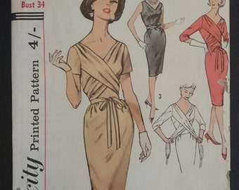 With a twist- 1960s- dress  pattern- B34 - mad men style- sheath dress- drape- wrap ties