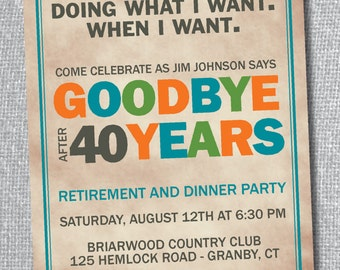 Retirement Party Invitation - Custom Colors Available
