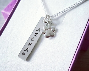 Sterling silver pet name necklace, memorial, remembrance, keepsake, paw print, dog cat