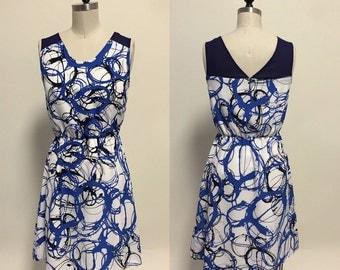 Annie (Brushstroke) : White blue brushstroke print silk chiffon, illusion, v cut back, day to night, party, day dress, bridesmaid