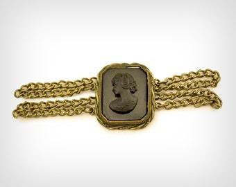 30s Bracelet // 1930's Black Cameo Sterling Chain Bracelet