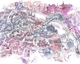 Colorful Budapest - Bird's Eye View Map (Giclée Print)