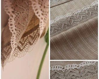 Linen Kitchen Towel with Linen Lace - Housewarming Gift - Made in Latvia