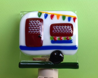 Fused Glass Happy Camper Night Light
