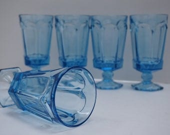 Tall Blue Glass Goblets Set of 5