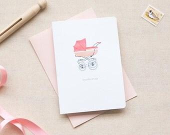 Newborn Baby Girl Card  |  Vintage Pram in Pink
