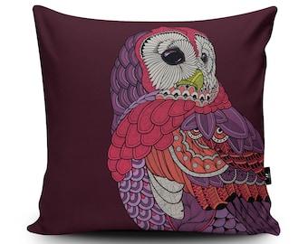 Owl Cushion, Owl Home Decor, Owl Pillow, Bird Pillow, Purple Cushion Cover by Paul Robbins, 45cm/60cm Faux Suede Cushion