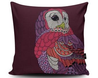 Owl Cushion, Owl Home Decor, Owl Pillow, Bird Pillow, Purple Cushion Cover by Paul Robbins, 45cm/60cm Faux Suede Cushion by Paul Robbins