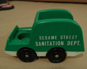 Vintage Fisher Price Little People Sesame Street Sanitation Dept Garbage Truck