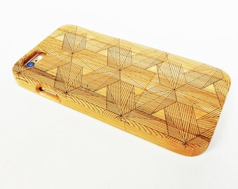 WOODEN PHONE CASE hexagons laser etched bamboo (wooden iPhone 6 case, wooden iPhone 6s case)