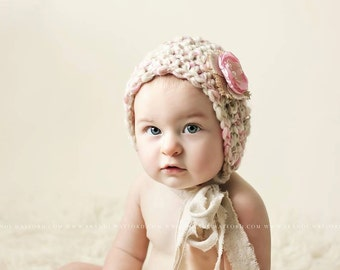 Pink and Cream Bonnet, Photo Prop