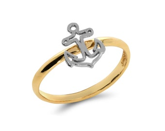 14k solid gold anchor ring. dainty ring. stackable ring, nautical, anchor