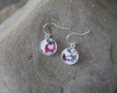 Mosaic Earrings: Tiny Pink Flowers