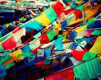Prayer Flags | Tibet | Home Decor | Wall Art | Fine Art Photography | Print | Matted