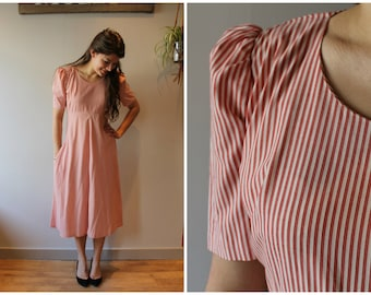 1940s Red and White Stripe Dress with Puff Sleeves and a Pocket