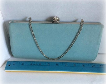 Vintage blue silk evening purse w/rhinestone clasp & silver chain