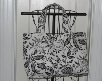 New Black and White Floral Print Large Tote