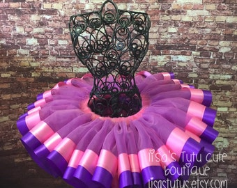 Pink and purple ribbon trimmed tutu. Pink and purple tutu. Doc Mcstuffins tutu. Birthday tutu. Party tutu. Dance tutu. Recital tutu.