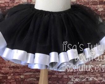 Black and white tutu, white and black tutu, black ribbon tutu, white ribbon tutu, skunk tutu, smash cake tutu, skeleton tutu, halloween tutu