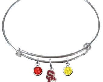 USC Trojans Southern California Style 2 Wire Charm Expandable Bangle Bracelet w/ Red & Gold Crystal Rhinestone Gem Charms