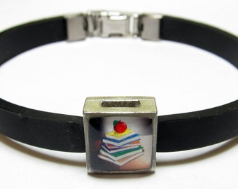 Stacked Books With Apple Teacher Link With Choice Of Colored Band Charm Bracelet
