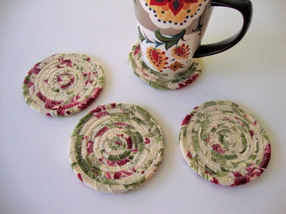 Set of 4 Coiled Fabric Coasters Coiled Rope Coasters