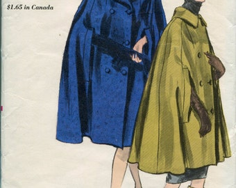 1950s Coat Pattern Cape Pattern Double Breasted Vogue Coat Pattern Vogue 6034 Vintage Sewing Pattern Womens Cape Pattern Size 14-16