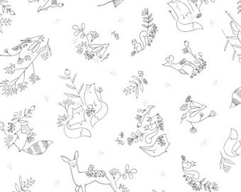 1 yard  TIMBERLAND from Dear Stella Designs Woodland Frolic White