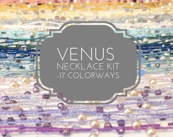 Venus Beaded Beginner Crochet Necklace Kit - Choose from 17 color ways