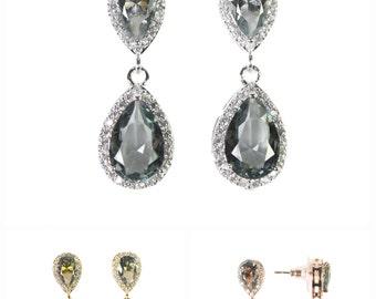 Charcoal Gray Earrings - Silver Gray Bridesmaid Earrings - gray Teardrop Earrings - Wedding Jewelry - Bridesmaid Jewelry