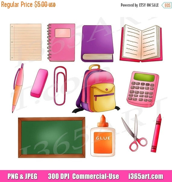 50% off sale School Clipart Clip art Back to school by I365Art
