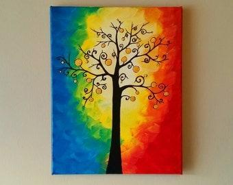 Tree of Life Wall Art, Abstract Tree painting, Whimsical Tree Art, Tree wall art,tree of life and Moon painting,Whimsical painting 11x14