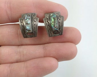 Vintage Abalone Shell & Sterling Silver Mexican Screw Back Earrings