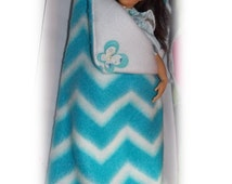 Butterfly Kisses - Deluxe Oversized Lammily Sized Sleeping Bag & Pillow. Blue and White Chevron Bedding.  Handmade Lammily Accessory
