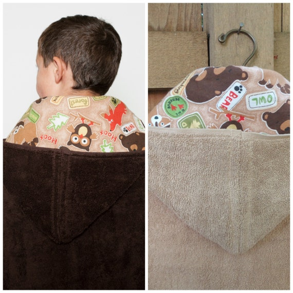Personalized Wildlife Hooded Bath Towel For A Boy Toddler