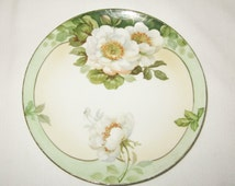 Vintage Royal Rudolstadt Hand Painted Green Floral Plate Prussia Small Flower Plate